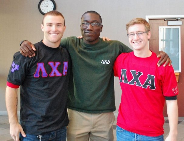 Lambda Chi Alpha members Jonathan Hawkins, Tremaine McKinley and Heath Brown supporting their fraternity.